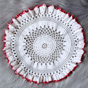 Vintage Round White Doily with Red Border